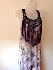 Bobeau Long Dress Hippie Festival Black Grey White Tie Dye Fringing Size 8-10