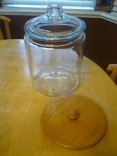 Anchor Hocking Large 2 Gallon Jar & Wood or Glass Lid Cookie Snack Storage