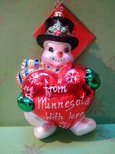 Valentine Christopher Radko Minnesota Minnie Snow Ta Frosty Glass Ornament
