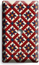 COUTRY QUILTED BLANKET PATTERN LIGHT DIMMER VIDEO CABLE COVER PLATES ROOM DECOR