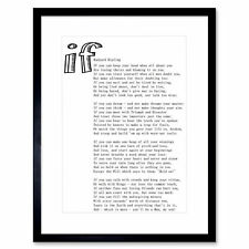 Quote Motivation Typography Rudyard Kipling If White Framed Wall Art Print
