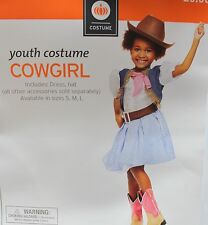 COWGIRL COSTUME Small 4-6 Western Girls Halloween Dressup Youth Child Hat NEW