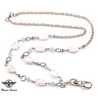 Crystal Stone White Granite Women's ID Badge Keys Holder Necklace Lanyard New