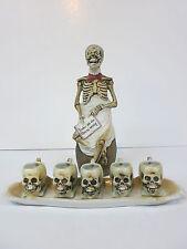 Porcelain Character Beer Figural Stein Bottle Skull Skeleton Set E Bohne & Sohne