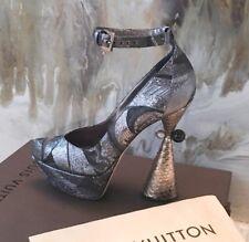 "13240b2137 Rare Louis Vuitton Runway ""Cancan"" Brocade & Python Hourglass Heels 39"