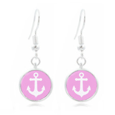 Anchor Pink and White Photo Art Glass Cabochon 16mm Charm Earring Earring Hooks