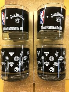 Set of 4 Jack Daniels limit addition NBA glasses Brand New 2020 Style