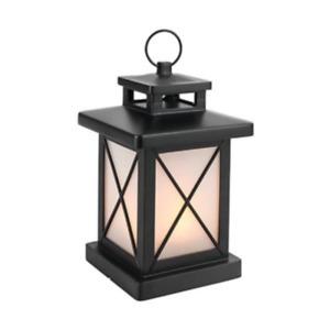 Black LED Flickering Flame Candle Lantern Hanging Battery Op Indoor Use