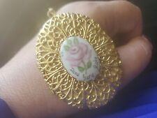 Vtg Victorian HUGE  Painted Porcelain Pendant Picture Locket Filigree GOLD TONE