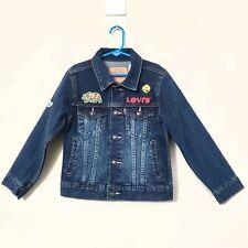 LEVI'S Boys Denim Blue Jean Patches Happy Face BearTruckers Jacket Size 7