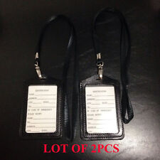 2X ID Card Holder Vertical strap Lanyard Genuine Leather for Retractable Badge