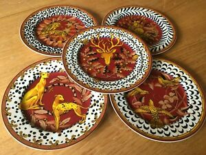 Carven Paris 5 Assiettes de collections  porcelaine Yves Deshoulières