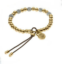 Women's Gold Tone Plated Beaded Fireball Leather Stretch Bracelet