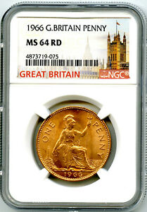 1966 GREAT BRITAIN BRITANNIA LARGE COPPER PENNY NGC MS64 RD LOW MINTAGE