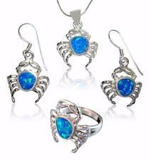 925 Sterling Silver Blue Opal Crab Sea Dangle Earrings Pendant Ring Set Size Q