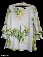 Wallis Size 16 Women Ruffle Sleeves Floral Top Sequins White Green Plus Size