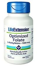 Optimized Folate (L-Methylfolate)(New Formula) Life Extension 100 Vegtarian Tabl