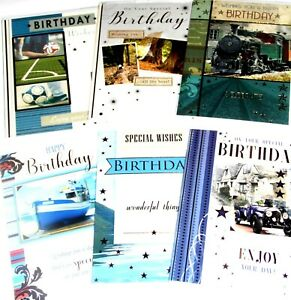 33p GREAT PRICE, MALECARDS x24  FREE POST 4 DESIGNS x6, BIRTHDAY, WRAPPED