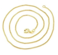 "Ladies 22K Yellow Gold GP 18"" Inch Box Chain Link 1mm Necklace N55"