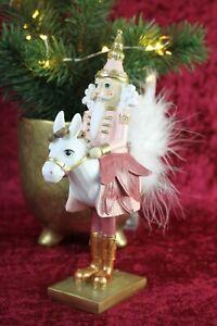 Clayre & Eef Nußknacker Reiter Pferd Rosa Gold Weihnachtsdekoration 20cm NEU