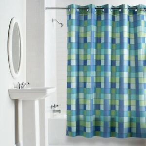 Hookless Shower Curtain -  Printed Green and Blue