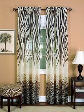 Set 2 Animal Print Kenya Safari Zebra Jungle Leopard Window Curtain Panel Drape