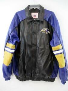NFL Baltimore Ravens Coat Jacket Purple Black Gold White Vinyl Men's Size L