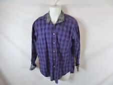 Men's TAILORBVRD Purple Checked Long Sleeve Button Dress Shirt Sz L