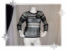 Magnifique Pull Fantaisie Maille Transparente Noir  Naf Naf Taille XS Neuf