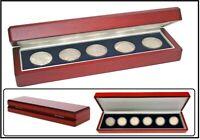 LOOK 17911 Eleganz Holz Münzetui mahagonifarbend Für 4-8 Münzen bis 55 mm