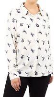 New Ladies Brave Soul Swallow Print Long Sleeve Collar Shirt Blouse 16-22