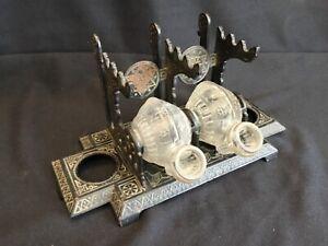 Interesting Antique Eastlake Victorian Double Inkwell Tilting Snail Form Bottles