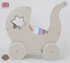 Wooden Doll Pram & WALKER 2in1 GREY STAR B2 incl. BEDDING Doll´s PRAM BRAND New