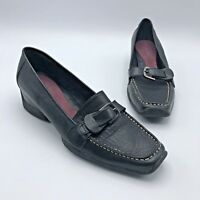Aerosoles Bologna Women Black Leather Wedge Loafer Shoe Size 7.5M Pre Owned