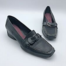 faa4300e4dd Aerosoles Bologna Women Black Leather Wedge Loafer Shoe Size 7.5M Pre Owned