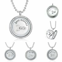 Crystal Glass Round Family Living Memory Floating Charm Locket Necklace Grandma