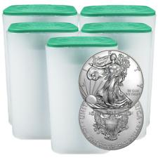 Lot of 100 - 2018 $1 American Silver Eagle 1 oz BU 5 Full Rolls