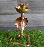Old Vintage Brass Enameled Cobra Snake Candle Stick Holder