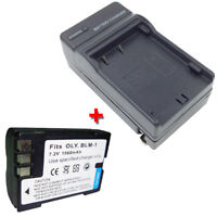 BLM-1 PS-BLM1 Replacement Battery + Charger for OLYMPUS EVOLT E-300 EVOLT E-500