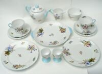 SHELLEY 14pc ALL DAY TEA-FOR-2 SET GORGEOUS 'WILD FLOWERS' PALE BLUE TRIM 13668