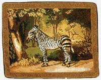 """14"""" x 18"""" Handmade Wool Needlepoint Zebra Pillow"""