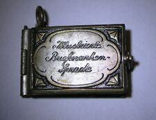 Rare Antique Miniature Book Locket  Lovers Language of Postage Stamps Fob Charm