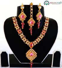 Pink Color party wear CZ stone Gold plated Bollywood jewelry set, Gift for her