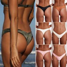Women's Sexy Bikini Thong Bottom G-string V Cheeky Ruched Swimwear Beachwear