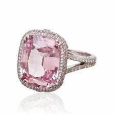 8Ct Cushion Pink Sapphire Syn Diamond Halo Solitaire Ring White Gold Fnsh Silver