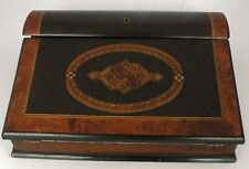 Antique fine writing lap travel Desk Letter Box wood Inlay Burl wood, ink well