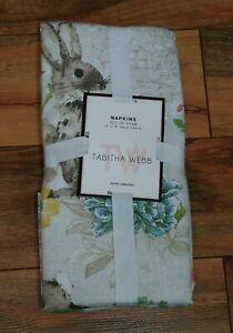 Tabitha Webb Set of (4) Bunny Rabbit Napkins Easter Spring Flower Postmark NWT