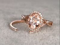 8/10 Oval Cut Morganite Vintage Solitaire Engagement Ring 18K Rose Gold Finish