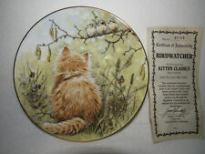 """BIRDWATCHER"" ROYAL WORCESTER KITTEN CLASSICS #4 COLLECTOR PLATE - MIB"