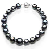 Pacific Pearls® 10-12mm Tahitian Black Pearl White Gold Bracelet Thank You Gifts